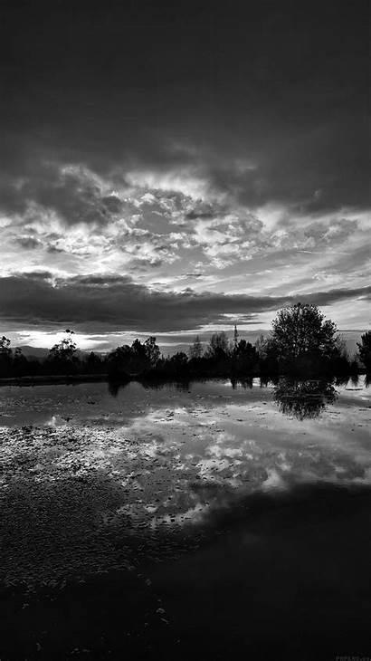 Night Dark Nature Lake Sunset Ml16 Bw