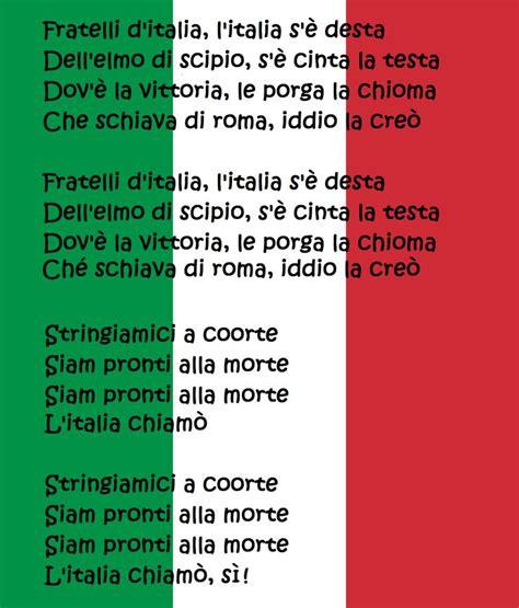 fratelli ditalia testo inno nazionale italiano national