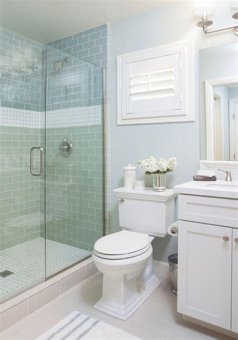 Coastal Bathroom With Aqua Blue Subway Tile  Agk Design