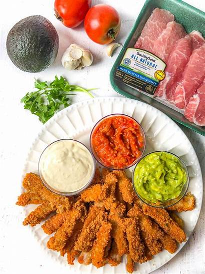 Pork Chops Strips Fried Keto Dipping Sauces