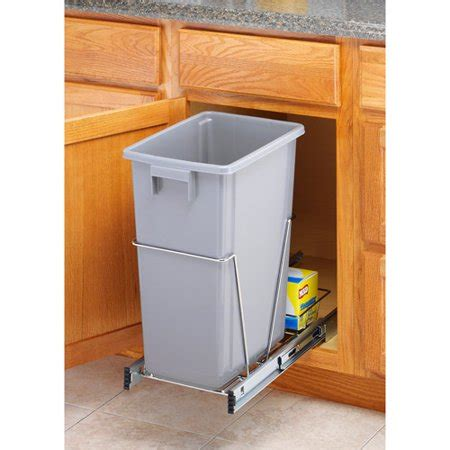 walmart pull out whitmor trash bin pull out with bin chrome finish