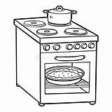 Stove Coloring Kitchen Electric Child Children Danger Cartoon Appliances Feeding Mother Grunge Icons Pink sketch template