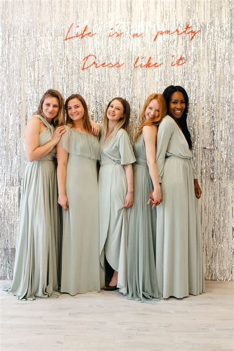 sage green mix match bridesmaid dresses