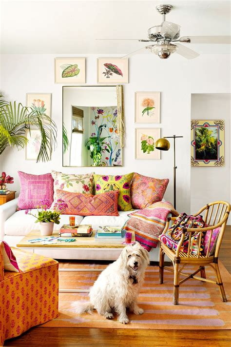 Different ottomans are very popular decorations for boho living rooms. 21 Quirky Bohemian Living Room Decor Ideas