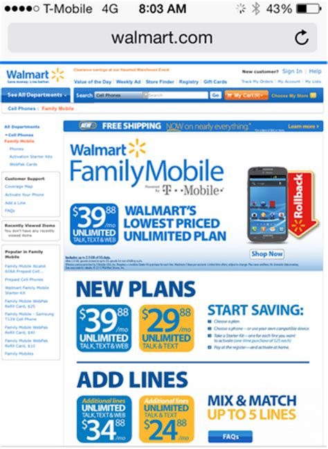 low cost cell phone plans walmart family mobile no contract low price cell phone