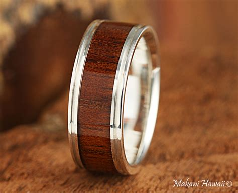 925 sterling silver koa wood inlaid mens wedding ring 8mm