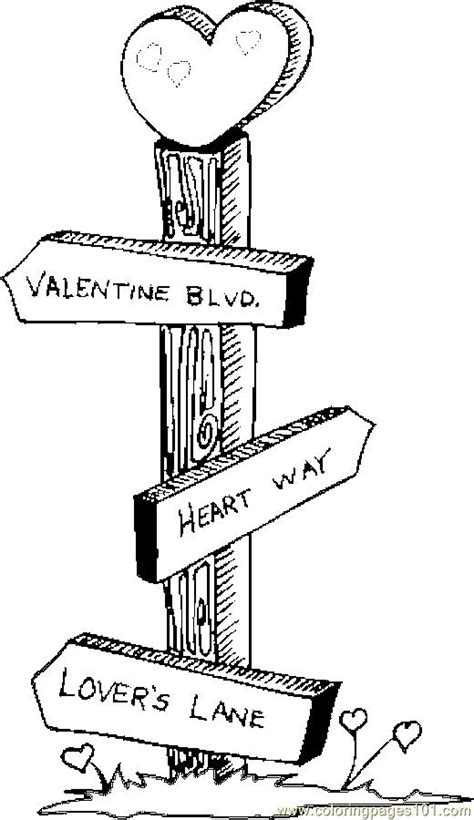 sign post coloring page  valentines day coloring