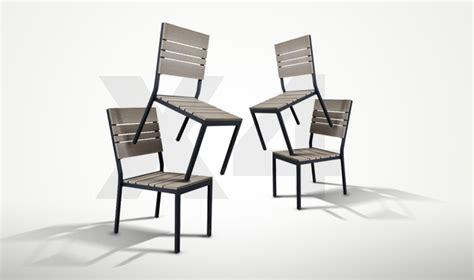 lot de 4 chaises de jardin alu bois composite brooklyn