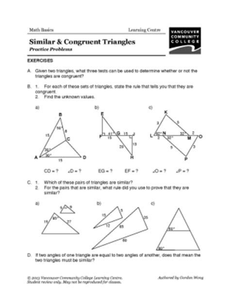 congruence of triangles worksheets worksheets for all