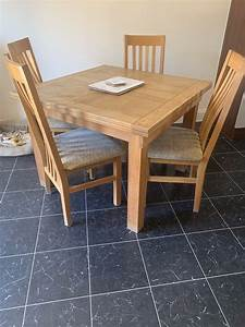 Solid, Oak, Fold, Out, Dining, Table, With, 4, Chairs
