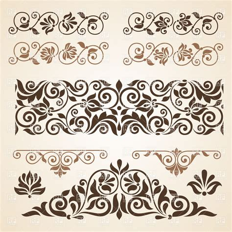 curly vintage design elements collection vector image