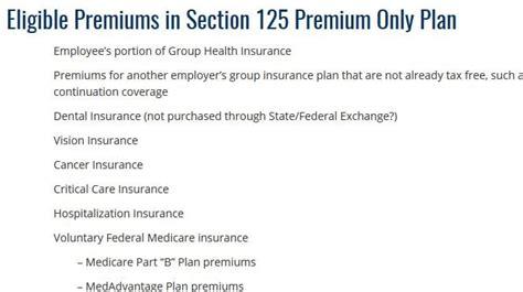 pre tax eligible premiums  section  premium  plan