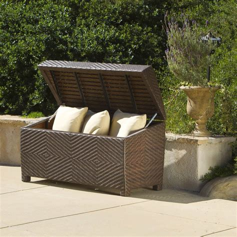 suncast large deck box 124 gallon large garden cushion storage box modern patio