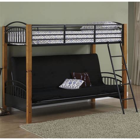 futon bunk bed powell matte black and country pine futon metal