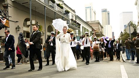 Second Line Parade Through The French Quarter In New