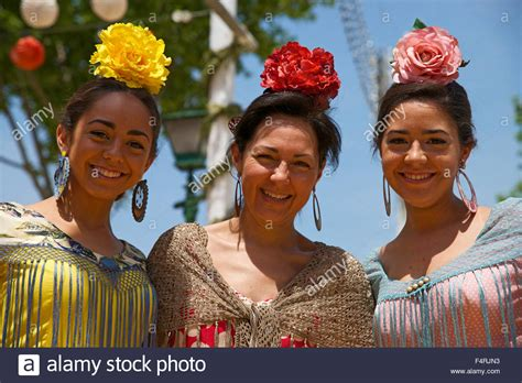 spain andalusia seville europe person woman flamenco feria abril dancers alamy outside tradition andalucia