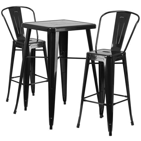 square black metal indoor outdoor bar table set