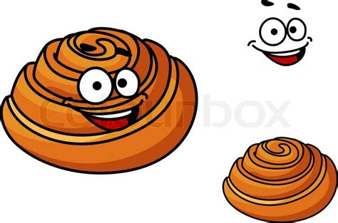Happy Golden Brown Delicious Cartoon Sticky Bun With A