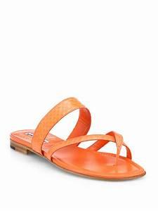 Manolo Blahnik Susa Snakeskin Sandals in Orange | Lyst