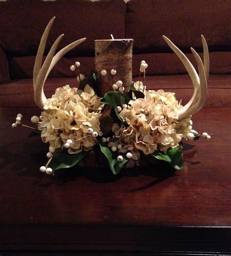 Antler Centerpiece for rustic wedding or reception cream