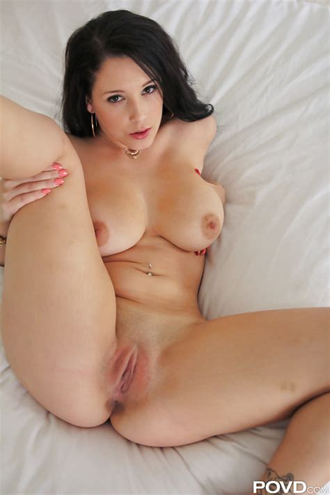 long haired brunette noelle easton spreading her legs and masturbating