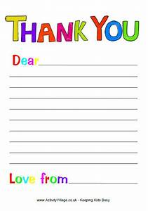 Free printable thank you note paper for children search for Thank you letter paper