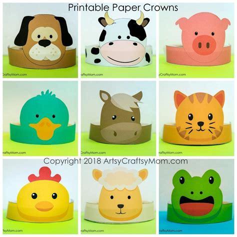 crown color printable farm themed paper crown color b w season