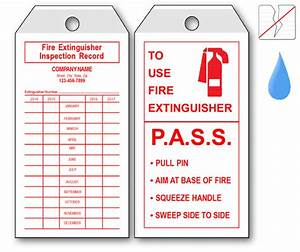 Fire equipment tags labels for Fire extinguisher inspection tag template