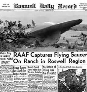 Image result for 1947 - An object crashed near Roswell, NM.