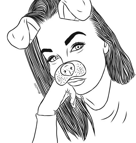 freetoedit drawing girl tumblr snapchat outlinedrawing