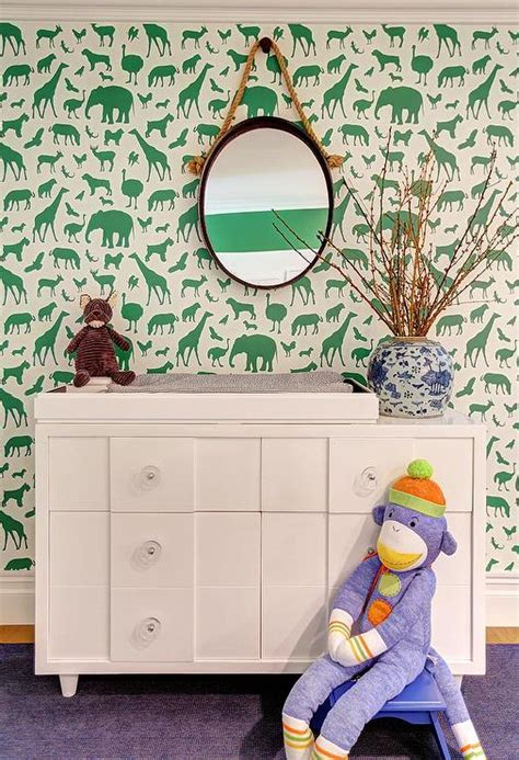 Ferm Living Animal Farm Wallpaper - white and green nursery with ferm living animal farm