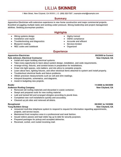 Electrician Apprentice Resume Sle by Best Apprentice Electrician Resume Exle From