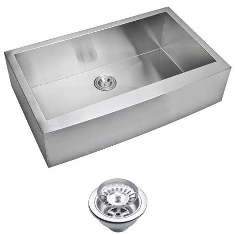 ss kitchen sink water creation farmhouse apron front zero radius stainless 2452