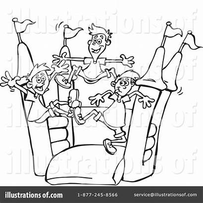 Bouncy Clipart Bounce Castle Inflatable Coloring Pages