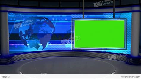 News Tv Studio Set 28 Virtual Green Screen Backgro Stock