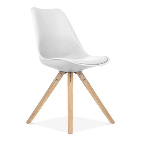 Chaise Ikea Blanche by Eames Inspired White Dining Chair With Pyramid Oak Wood