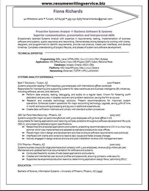 It Systems Analyst Resume Exles by Systems Analyst Resume Sle Resume Writing Service