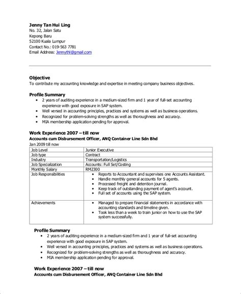 sample accountant resume templates  ms word