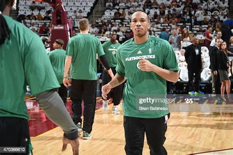 Avery Bradley of the Boston Celtics warms up before the ...