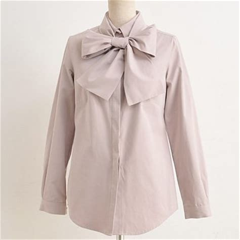 blouse with bow collar removable bow tie regular collar blouse buy blouse