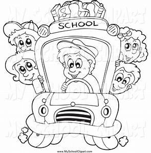 School Bus Driver Clipart Black And White - ClipartXtras