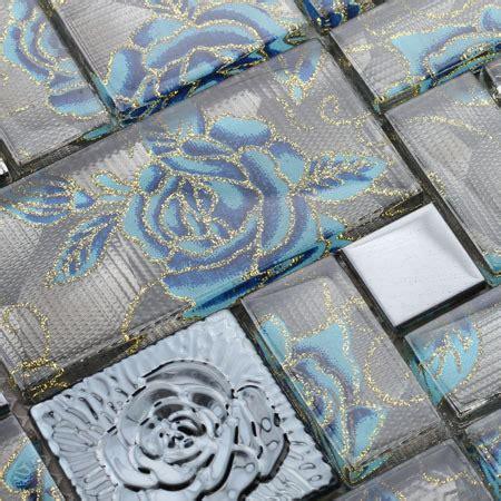 crystal glass tile wall rose pattern mosaic art