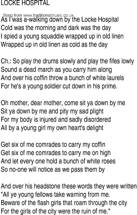 irish  song  ballad lyrics  locke hospital