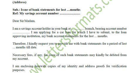 request letter  bank  statement  account sample