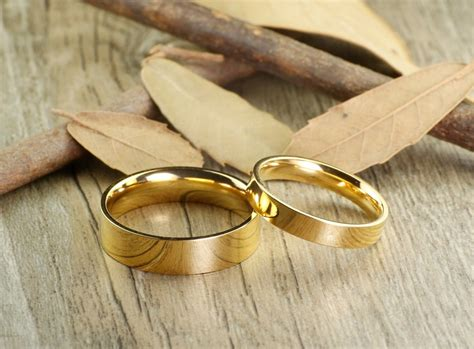 Handmade Gold Flat Plain Matching Wedding Bands, Couple