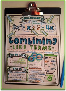 combining like terms doodle notes by math giraffe tpt