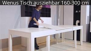 Tisch Ausziehbar 3 Meter : wenus tisch ausziehbar 160 300 cm youtube ~ Bigdaddyawards.com Haus und Dekorationen