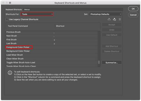 assign a keyboard shortcut to the foreground color picker