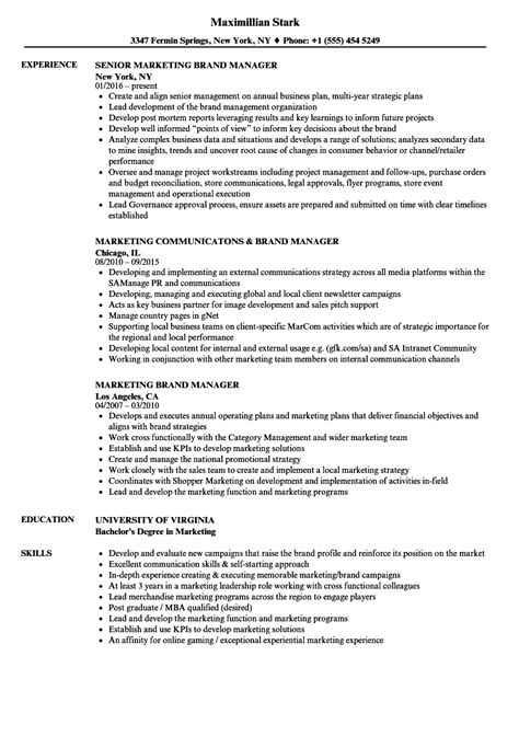 Brand Manager Resume by Marketing Brand Manager Resume Sles Velvet