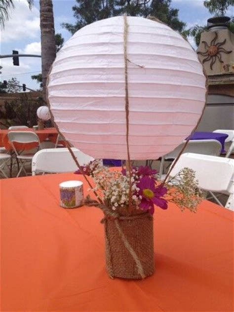 Hot Air Balloon Centerpieces Jar Wrapped With Burlap